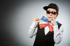 The funny man with giant bow tie Royalty Free Stock Image