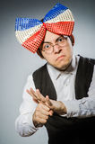 The funny man with giant bow tie Stock Photography