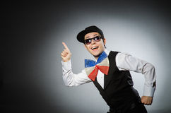 Funny man with giant bow tie Stock Photos