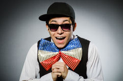 Funny man with giant bow tie Stock Images