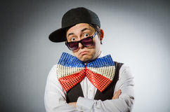 Funny man with giant bow tie Royalty Free Stock Images
