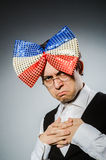 The funny man with giant bow tie Stock Images