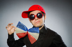 The funny man with giant bow tie Stock Photo