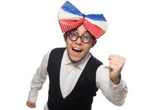 Funny man with giant bow tie. Funny man wearing giant bow tie royalty free stock images