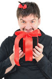 Funny man with gift in hands Royalty Free Stock Photos