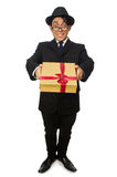 The funny man with giftbox on white. Funny man with giftbox on white royalty free stock images