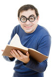 Funny man in glasses. Student in glasses reading a book on white background stock photo
