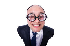 Funny man with glasses isolated on white Royalty Free Stock Photography