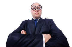 Funny man with glasses isolated on white Stock Photo