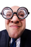 Funny man with glasses isolated on white Royalty Free Stock Image