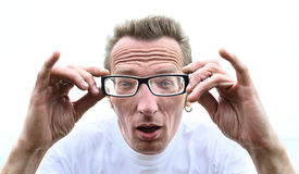 Funny man with glasses outdoor Royalty Free Stock Images