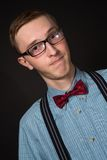 Funny man in glasses in retro suit and white shirt Stock Photo