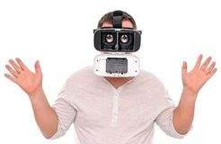 Funny man in glasses virtual reality, with increased eyes. Stock Image