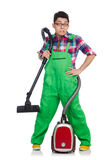 Funny man in green coveralls Stock Photos
