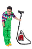 Funny man in green coveralls Stock Images
