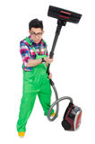 Funny man in green coveralls Stock Photo