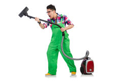 Funny man in green coveralls Royalty Free Stock Photo
