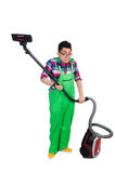 Funny man in green coveralls Stock Photography