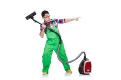 Funny man in green coveralls Stock Image