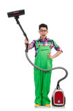 Funny man in green coveralls Royalty Free Stock Images