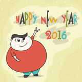 Funny man for Happy New Year 2016. Royalty Free Stock Image
