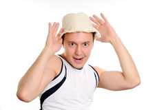Funny man in a hat. On rest Stock Photo