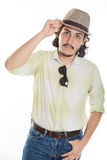 Funny man in hat Stock Images