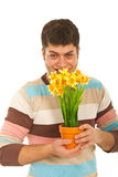 Funny man holding flowers pot Royalty Free Stock Photography