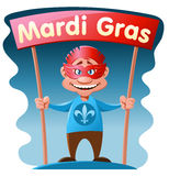 Funny man holding Mardi gras banner. Cartoon styled vector illustration. Elements is grouped. No transparent objects Stock Photo