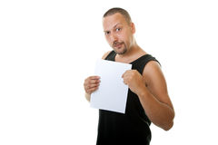 Funny man holding a white paper Royalty Free Stock Images