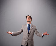 Funny man juggling with copy space Royalty Free Stock Photography