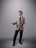 Funny man juggling with copy space Stock Images