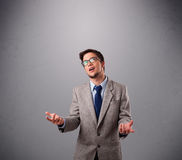 Funny man juggling with copy space Stock Photography