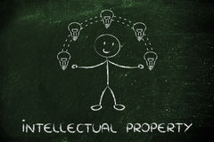 Funny man juggling ideas, concept of intellectual property Stock Photos