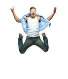 Funny man jumping Stock Photos