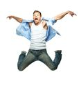 Funny man jumping Stock Photography