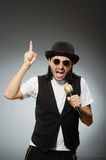 The funny man in karaoke club Stock Photography