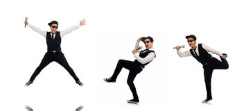 Funny man in karaoke club isolated on white