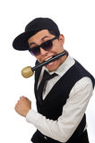 The funny man in karaoke club isolated on white Stock Image