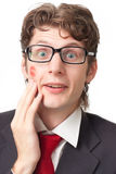 Funny man with a kiss Stock Photos