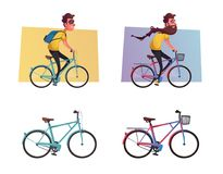 Funny man with long beard ride a bike. Vintage bicycle. Cartoon vector illustration. Vehicle for travel. Active lifestyle. For web or print. Rental for Stock Image