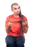 Funny man with long shaved hair Royalty Free Stock Photos