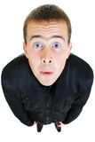 Funny man looks up. On a white background Royalty Free Stock Images