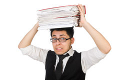 Funny man with lots of folders Stock Photos