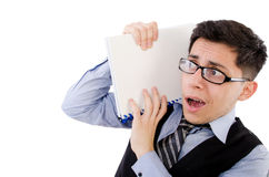 Funny man with lots of folders Royalty Free Stock Photography
