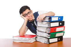 Funny man with lots of folders. On white Stock Photography