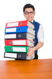Funny man with lots of folders. On white Royalty Free Stock Photography
