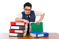 Funny man with lots of folders. On white Royalty Free Stock Image