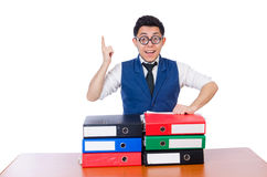 Funny man with lots of folders. On white Stock Image