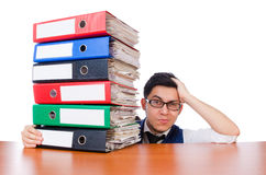 Funny man with lots of folders Royalty Free Stock Photo